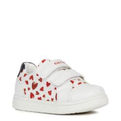 Zapatillas-Tenis de niña con corazaones Geox. BABY DJROCK GIRL