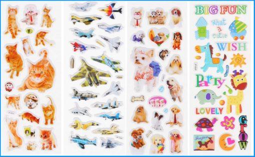 Pack stickers perros gatos dibujos